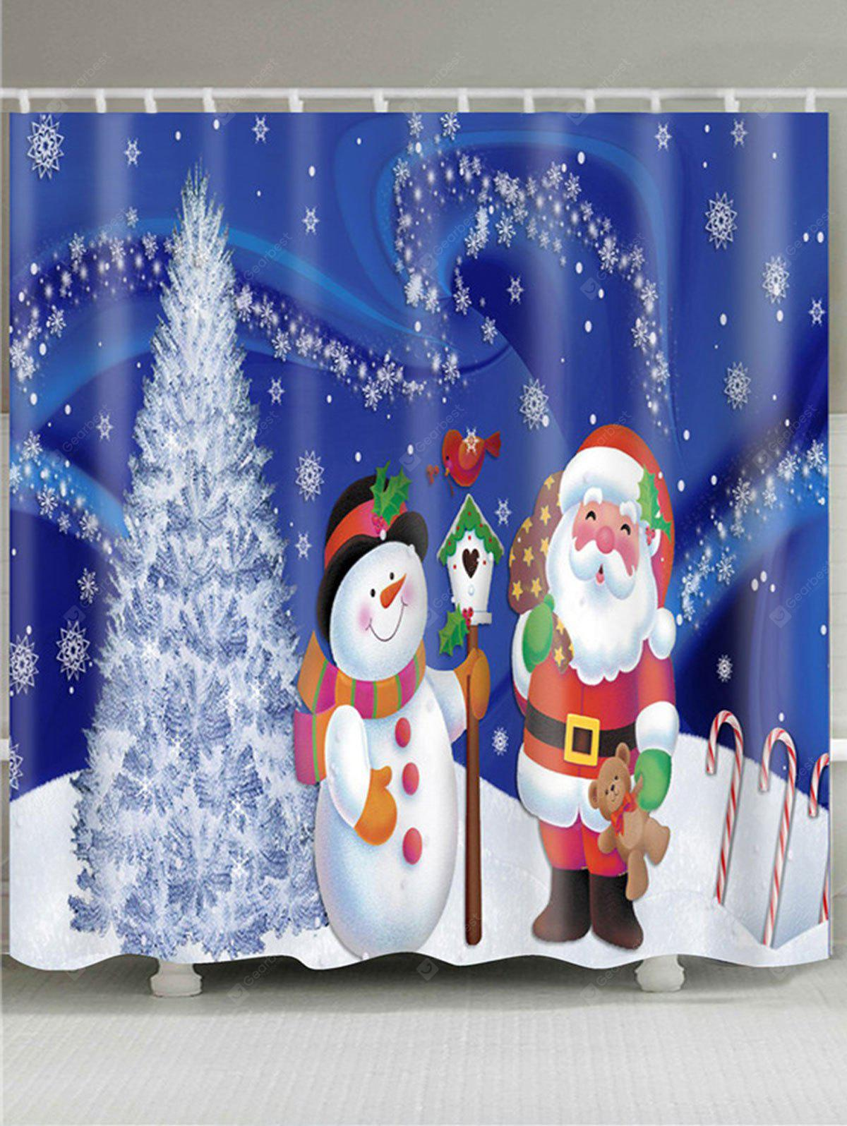 Christmas Tree Snowman Santa Claus Patterned Shower Curtain