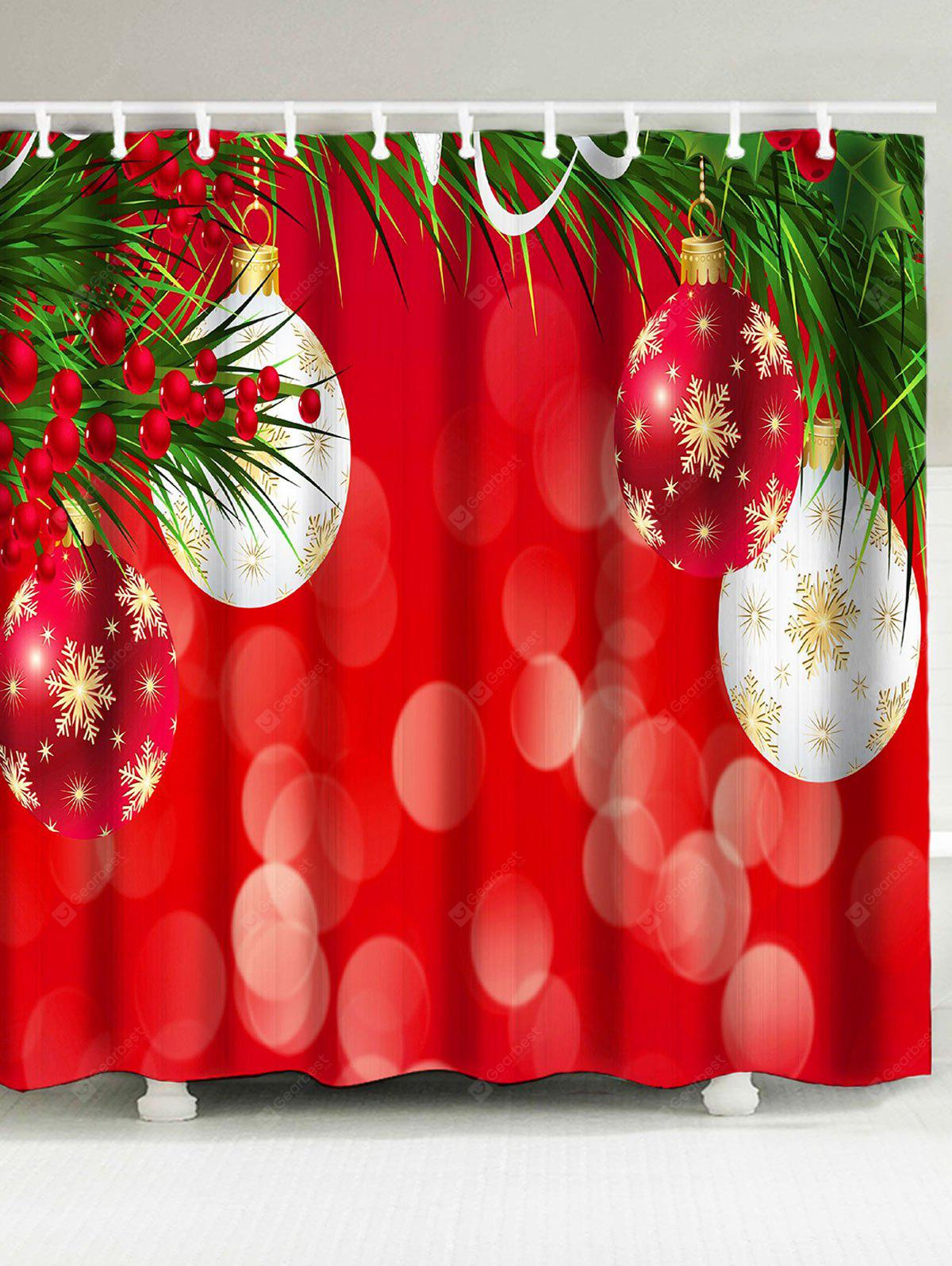 Christmas Coloured Ball Printed Waterproof Shower Curtain