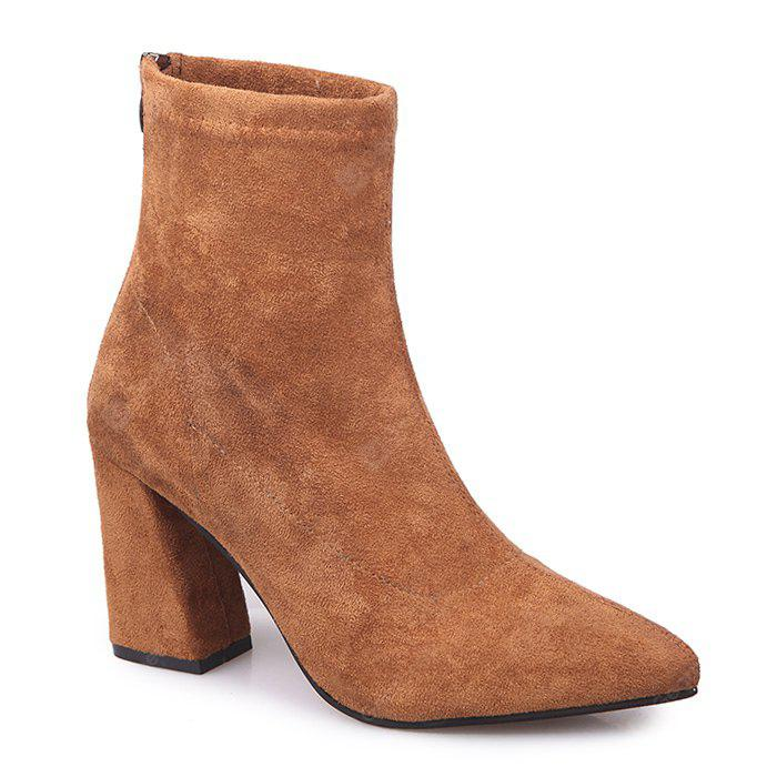 Faux Suede Zipper Pointed Toe Chunky Boots