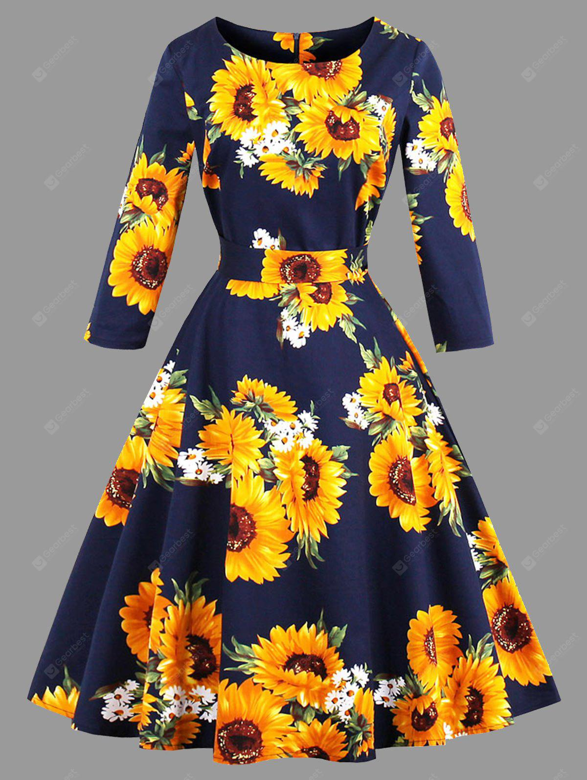 Plus Size Sunflower Print Belted Dress