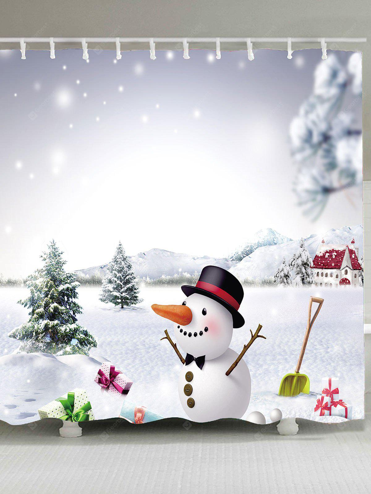 Christmas Snowman Patterned Shower Curtain