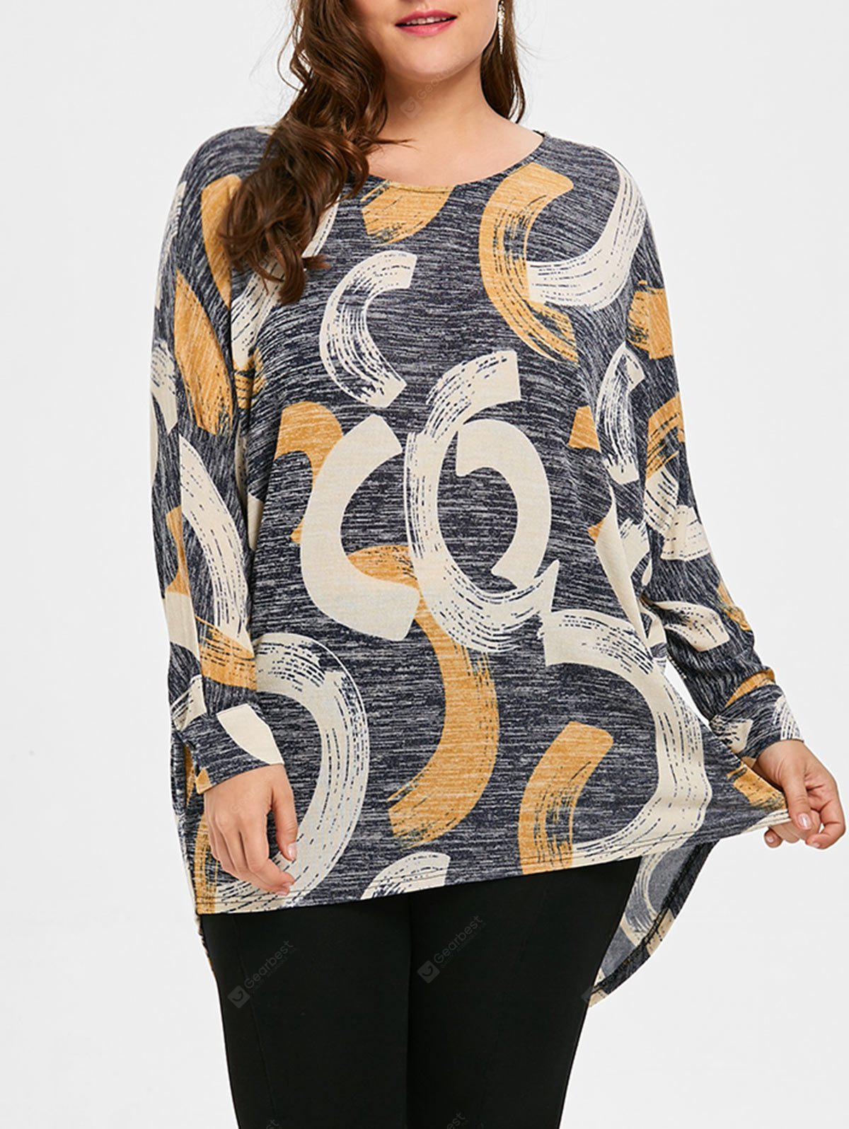 Print Plus Size High Low Top
