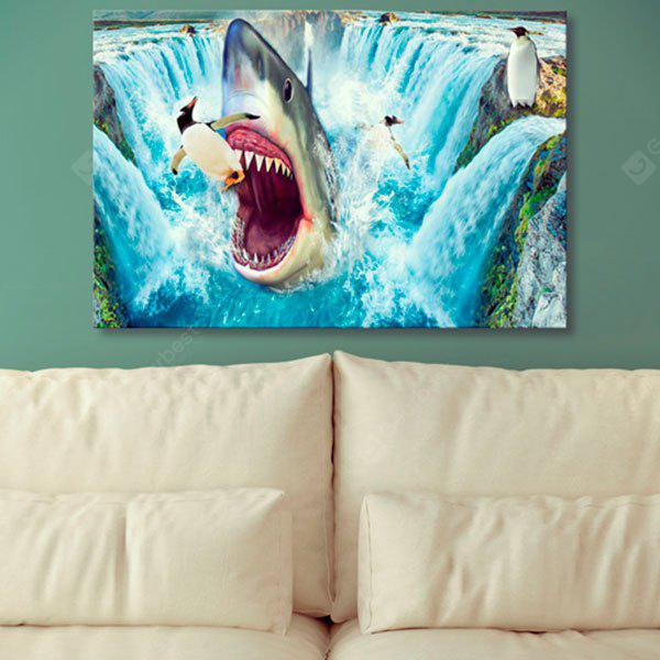 Sea Shark Penguin Print Canvas Wall Art Painting