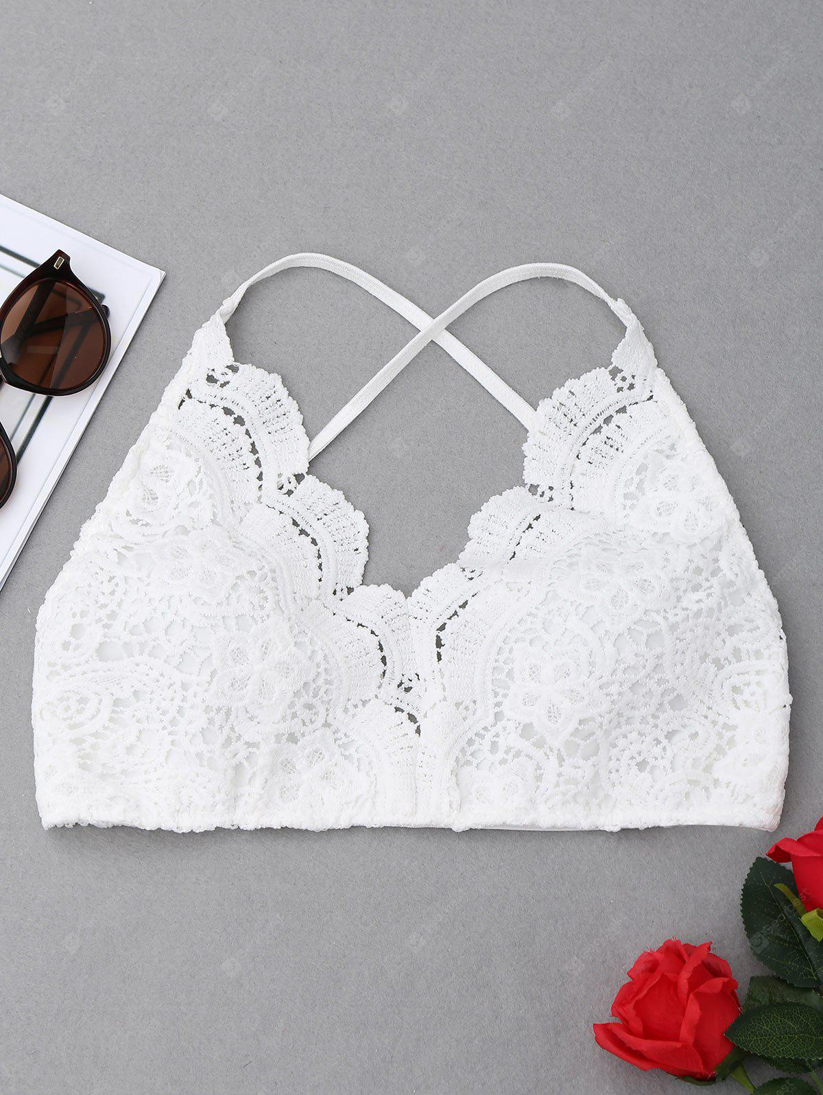 Criss Cross Crochet Lace Bralette Top