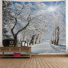 Wall Hanging Art Snow Pathway Print Tapestry - GREY WHITE