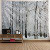 Wall Hanging Art Snowy Forest Print Tapestry - GREY WHITE