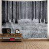 Wall Hanging Decor Snowy Forest Print Tapestry - GRAY