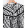 Checked Lace Trim Half Buttoned Blouse - CHECKED