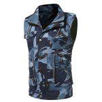 Turndown Collar Camouflage Zip Up Müdigkeit Weste - BLAU