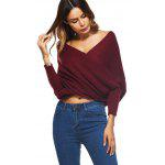 Crossed Front Wrap Chunky Sweater - WINE RED