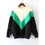 Lace Up Color Block Drop Shoulder Sweater - GREEN