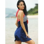 Buy Halter Sailor Swimdress Stripe Tankini Top Bathing Suit BLUE AND RED
