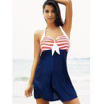Buy Halter Sailor Swimdress Stripe Tankini Top Bathing Suit RED AND WHITE BLUE