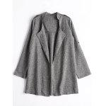 Open Front Heathered Coat - GRAY