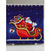 Waterproof Father Christmas and Carriage Pattern Shower Curtain - COLORFUL