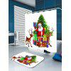 Santa Claus and Christmas Gift Printed Waterproof Shower Curtain - COLORFUL