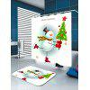 Skating Christmas Snowman Pattern Waterproof Shower Curtain - COLORFUL