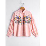 Ruffles Loose Floral Embroidered Shirt - PINK