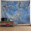 Christmas Snow Tree Wall Art Tapestry - BLUE AND WHITE