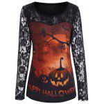 Pumpkin Happy Halloween Lace Sleeve Top - ORANGE
