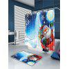 Father Christmas Lighting Pattern Waterproof Shower Curtain - COLORFUL