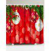 Christmas Coloured Ball Printed Waterproof Shower Curtain - RED