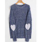 Heart Elbow Patch Crew Neck Sweater - ROYAL