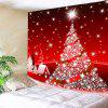 Wall Hanging Art Christmas Tree Star Print Tapestry - RED