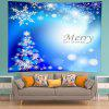 Wall Hanging Art Merry Christmas Snowflakes Print Tapestry - BLUE