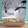 Wall Hanging Art Snowman Forest Print Tapestry - WHITE