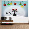 Wall Hanging Art Christmas Baubles Cat Print Tapestry - COLORMIX
