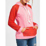 Lace Insert Raglan Sleeve Hoodie - CANDY CORAL