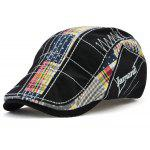 RetroTartan-Stickerei-Cabbie-Hut - SCHWARZ