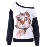Skew Neck Color Block 3D Cat Print Sweatshirt - WHITE AND BLACK