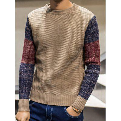 Buy KHAKI Color Block Pullover Crew Neck Sweater for $13.95 in GearBest store