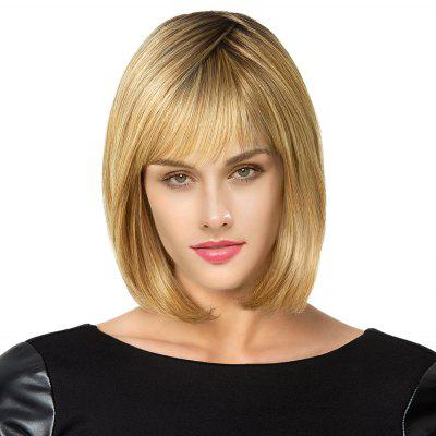 Buy COLORMIX Short See Through Bang Colormix Straight Bob Human Hair Wig for $57.91 in GearBest store