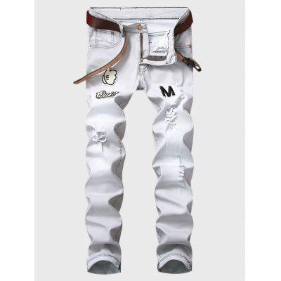 Buy LIGHT GRAY Zipper Fly Cartoon Graphic Appliques Ripped Jeans for $42.01 in GearBest store