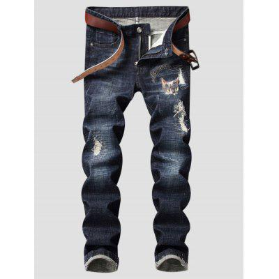 Buy BLUE Zipper Fly Cat Graphic Embroidered Ripped Jeans for $49.06 in GearBest store