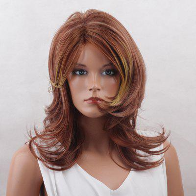 Long Side Bang Colormix Tail Upwards Layered Natural Straight Synthetic Wig