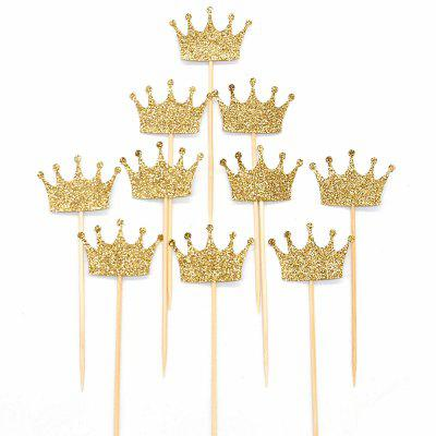 20 Pcs Glitter Powder Crown Pattern Cake Toppers