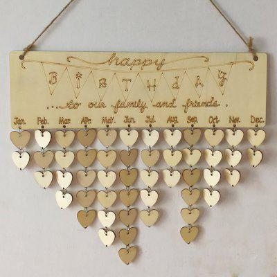 Buy HEART Family And Friends Birthday Calendar DIY Wooden Reminder Board for $11.90 in GearBest store