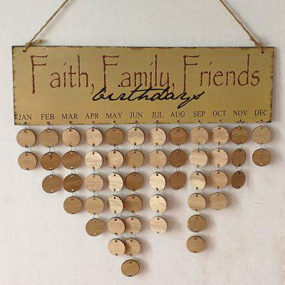 Buy ROUND DIY Wooden Faith Family And Friends Birthday Calendar Reminder Board for $13.76 in GearBest store