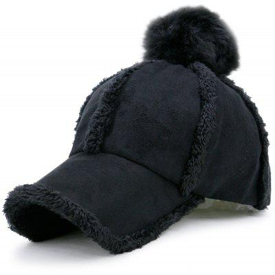 Faux Lambswool Panel Design Pom Baseball Hat