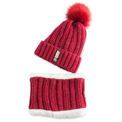 Letter B Label Knitted Pom Hat with Scarf