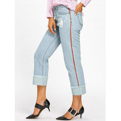 Buy LIGHT BLUE M Frayed Faded Cuffed Jeans for $31.75 in GearBest store