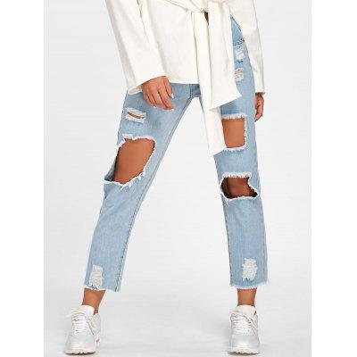 Buy LIGHT BLUE L Faded Destroyed Jeans for $30.74 in GearBest store