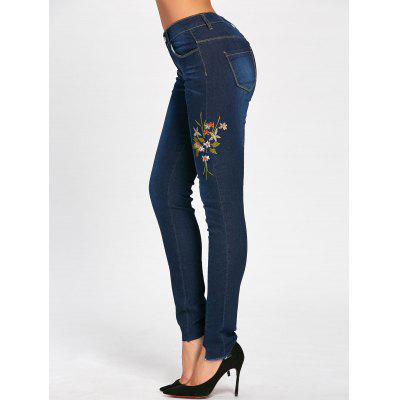 Buy DEEP BLUE L Skinny High Waisted Floral Embroidered Jeans for $24.63 in GearBest store