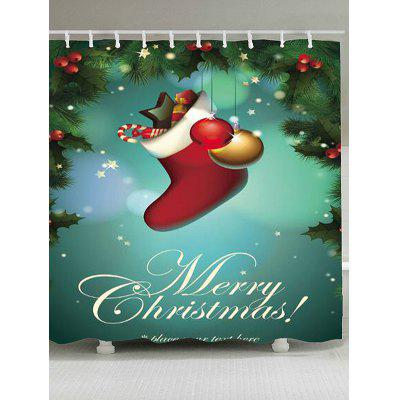 Merry Christmas Socks Patterned Bath Curtain