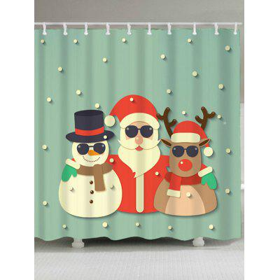 Christmas Snowman Santa Claus Deer Shower Curtain