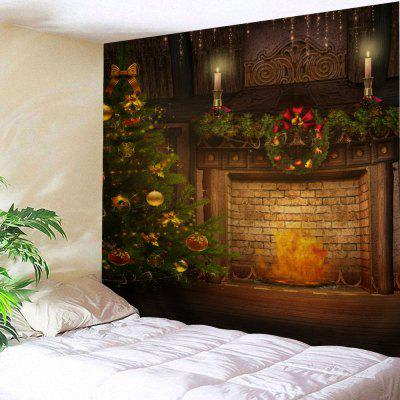 Buy COLORMIX Wall Art Christmas Tree Fireplace Tapestry for $13.75 in GearBest store
